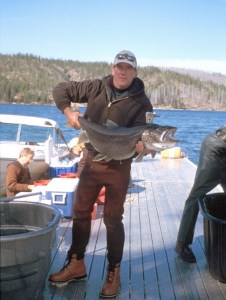 Holding a large Lake Trout